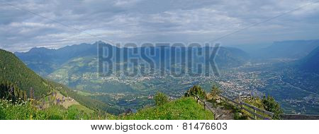 Panoramic view on the valley basin of Meran