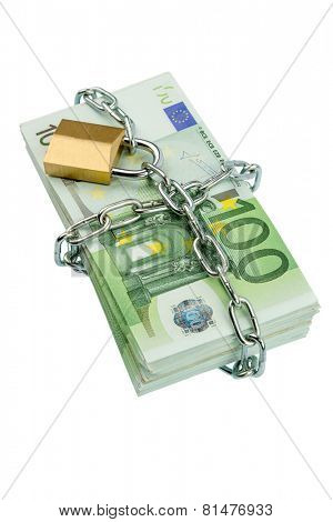 euro banknotes with chain and padlock. photo icon for security and inflation