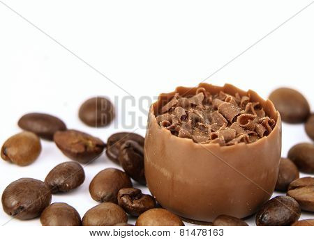 Assorted Chocolate Confectionery With Coffee Beans Isolated On White