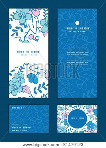 Vector blue and pink kimono blossoms vertical frame pattern invitation greeting, RSVP and thank you