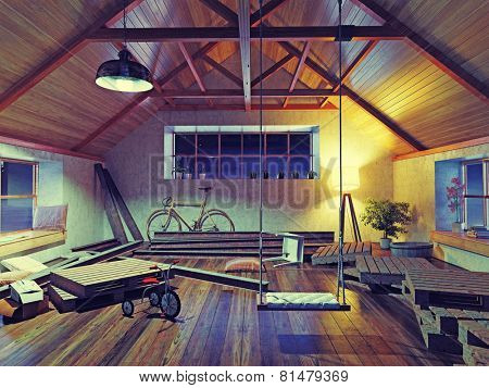 old attic interior with swing. 3d concept