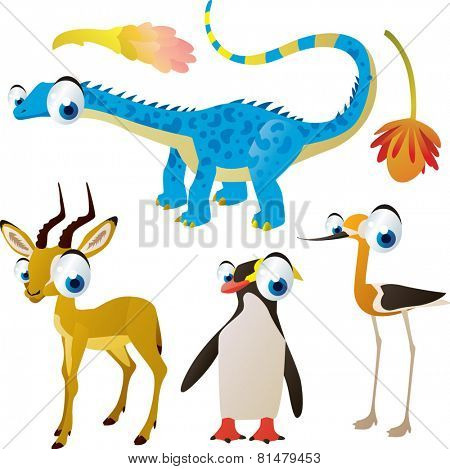 set of cute comic animals: dinosaur, impala, penguin, avocet
