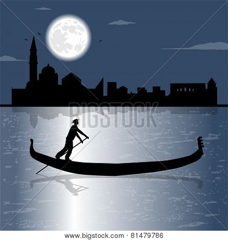 gondola silhouette in the sea