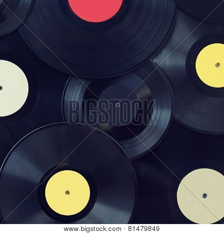 Vintage Photo Vinyl Discs, Music, Sound, Disco - Concept