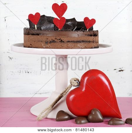 Valentine Chocolate Mousse Layer Cake