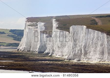 White Chalk Cliffs And Shible Beaches At The The Seven Sisters, Birling Gap