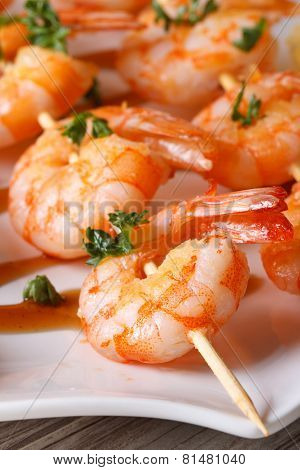 Tasty Grilled Shrimp On Wooden Skewers Macro Vertical
