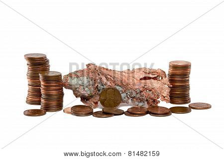 Isolated Copper Nugget And Copper Pennies