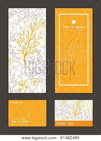 Vector magical floral vertical frame pattern invitation greeting, RSVP and thank you cards set