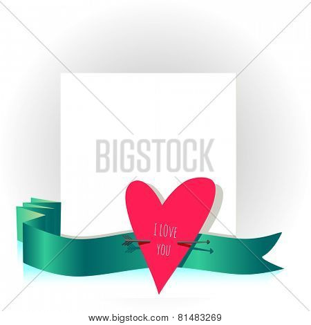 Valentine day card, love letter vector illustration. Heart symbol.
