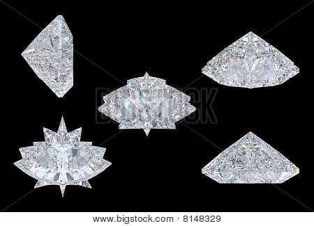 Top, Bottom And Side Views Of Maple Leaf Diamond