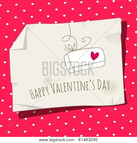 Retro Valentine day card, love letter vector illustration. Heart symbol.