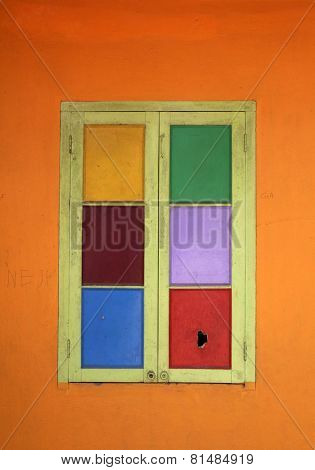 KOLKATA, INDIA - FEBRUARY 11: Colorful window in Shishu Bhavan, one of the houses established by Mother Teresa and run by the Missionaries of Charity in Kolkata, India on February 11, 2014.