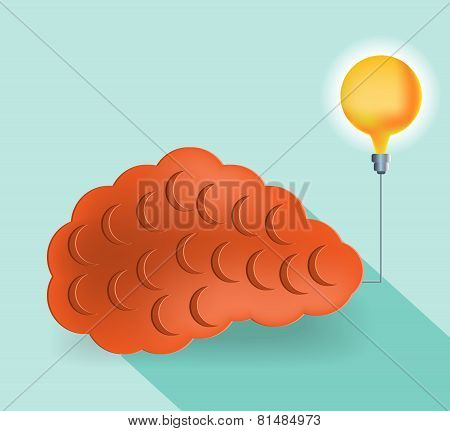 Card with orange brain and yellow lightbulb, flat style
