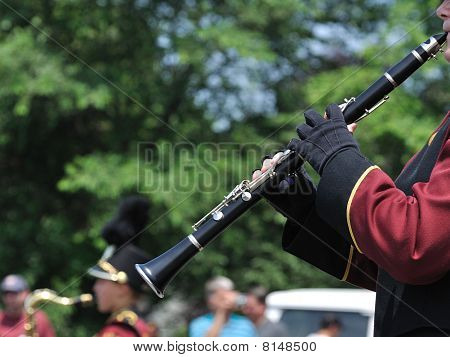 Marching Band Performer Playing Clarinet In Parade