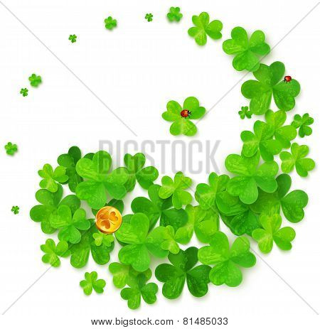 Yin and Yang harmony symbol made of clovers