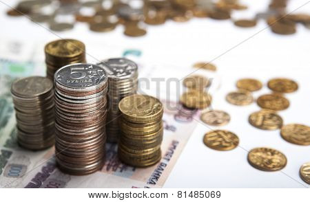 Stacks Of Russian Rubles With Note