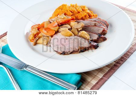 Grilled Pork Tenderloin, Squash And Apple Mushroom Sauce