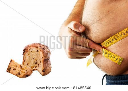 fat man and christmas dessert  in white background