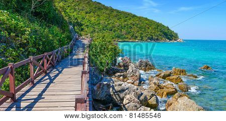 Jetty To A Tropical Beach On Island, At Koh Lan Island