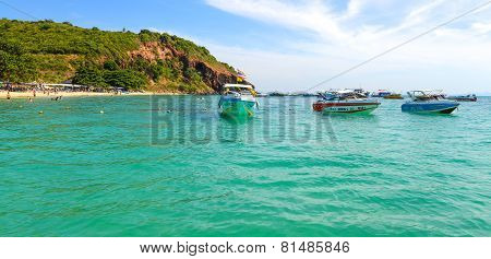 Beautiful Beach With Motor Boat At Larn Island, Thailand