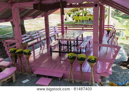 Pink Wooden Gazebo