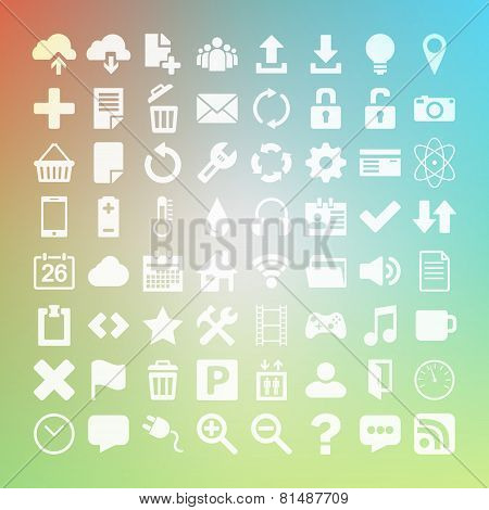 64 Universal Flat Vector Icon Set For Web Desighers, Ui, Sites,
