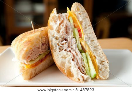 A Classic Turkey Sandwich On A Ciabatta Roll
