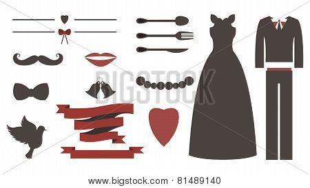 Set of wedding invitation vintage design elements, designers toolkit.