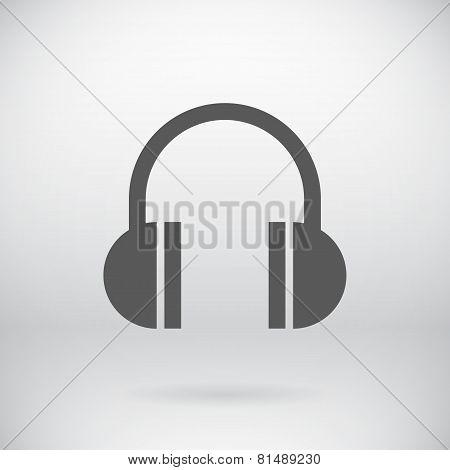 Flat Headphones Sign Vector Music Earphone Symbol Background
