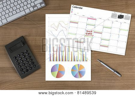 Calendar Diagram Due Date And Calculator On Wooden Table