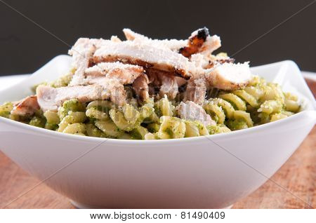 Peas Pesto With Rotini And Diced Grilled Chicken, A Delicious Healthy Meal