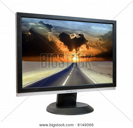Lcd Monitor With Road Through Desert