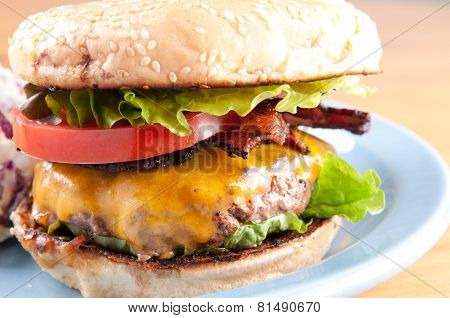 Bacon Cheeseburger With Coleslaw