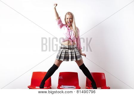 Riot Student With A Miniskirt