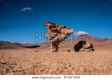 The Stone Tree (arbol De Piedra) In The Bolivian Desert