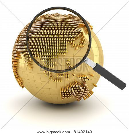 Globe with magnifying glass, economy outlook concept