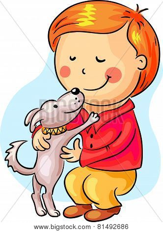 Little boy with his pet dog