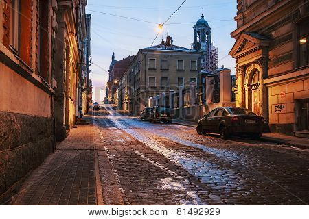 Old Streets Of Vyborg At Dawn