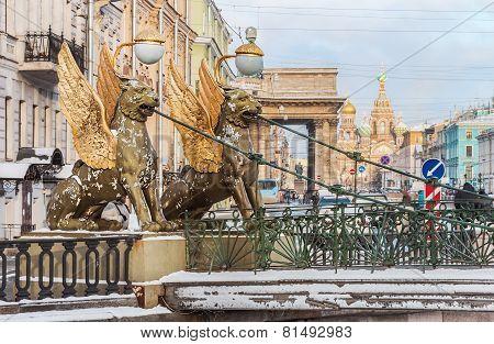 Griffon Sculpture Of Bank Bridge In St.peterburg