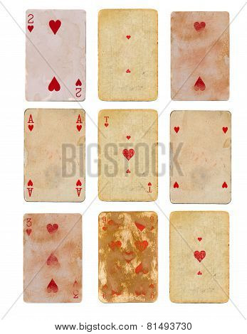 Collection Old Used Playing Card Of Hearts Paper Backgrounds Isolated