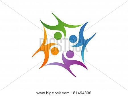 Education Teamwork logo,abstract childern playing symbol icon