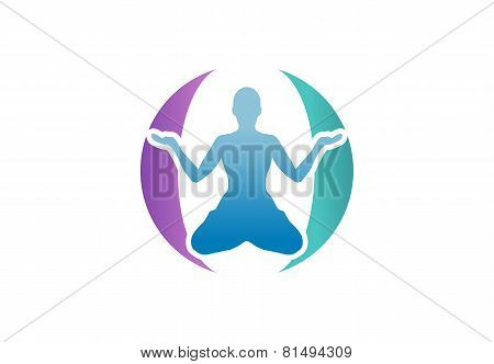 meditation health yoga global logo,wellness,fitness,spirit symbol icon