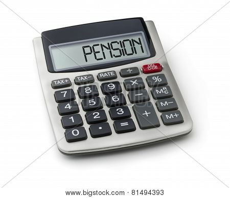 Calculator with the word pension on the display