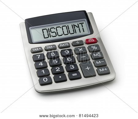 Calculator with the word discount on the display