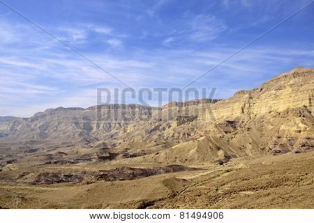 Small Crater View In Negev Desert.