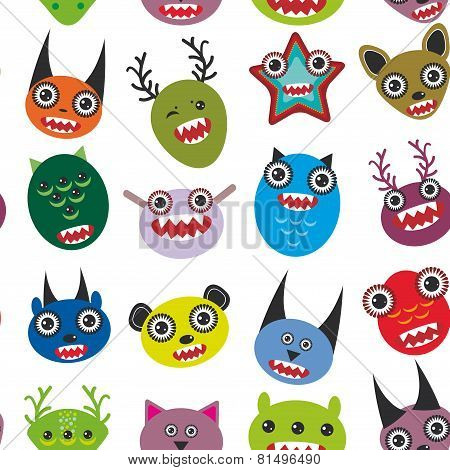 Cute cartoon Monsters Set.  seamless pattern on white background.vector