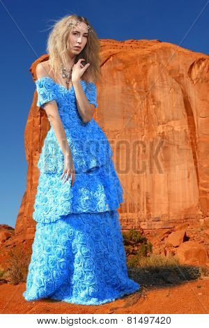 Beautiful Fashion Model Posing in a National Park