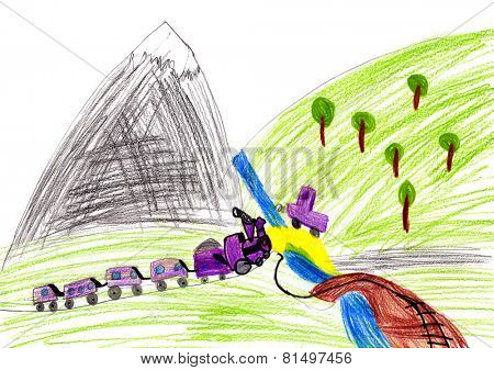 train and car. child drawing.