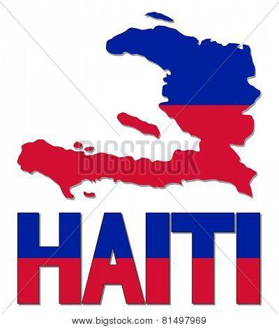 Haiti map flag and text illustration